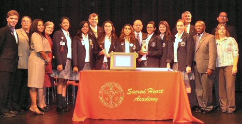 Officers of the sacred heart academy key club with lisc kiwanians
